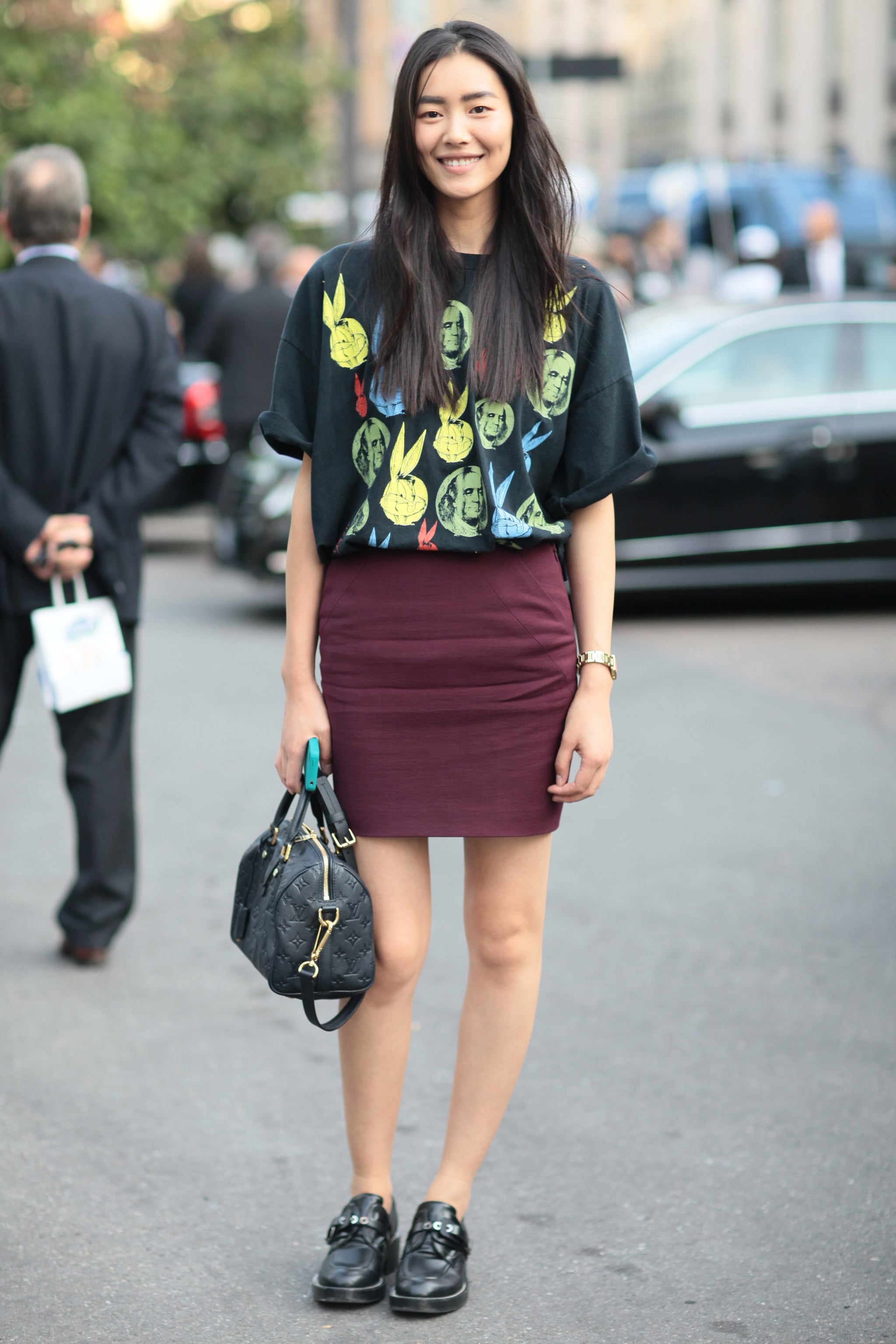 Dress Up A Cheeky Print With A Plum Hued Pencil Skirt And Patent Street Styled Over 180 Snaps