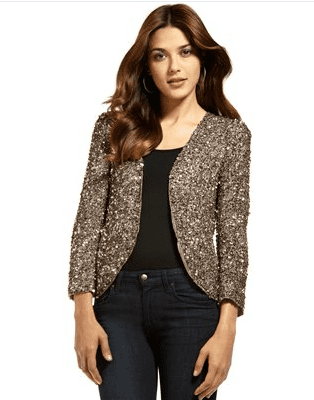 Wear this sequined blazer just like this, over a black top and jeans, for that cool-glamour effect.  Parker Sequined Cropped Jacket ($330)