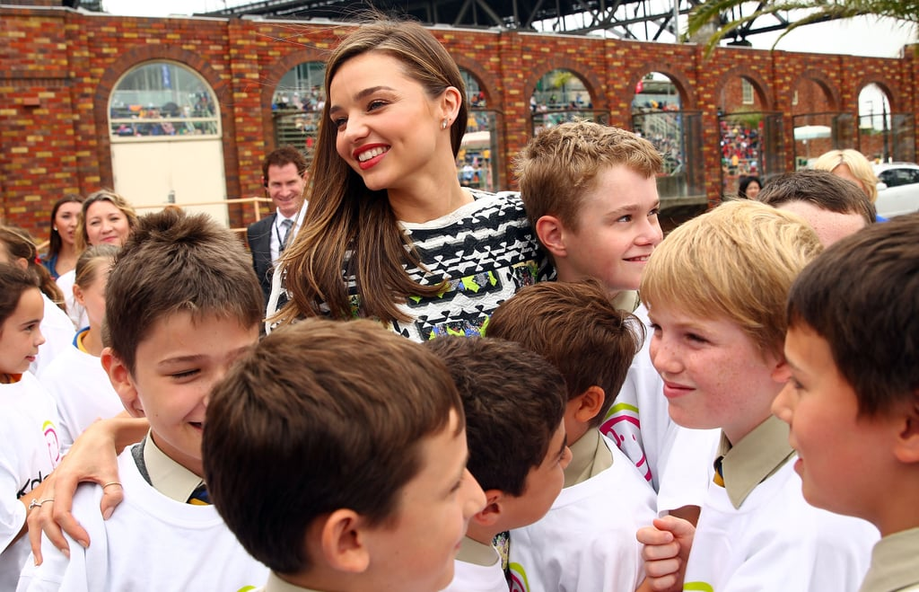 Miranda Kerr was out in Sydney with children to promote the Kids Helpline.