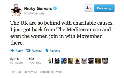 Cheeky Ricky Gervais, at it again.