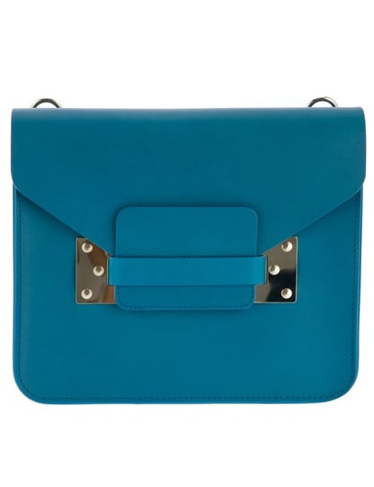 We can't get enough of the cool blue hue and streamlined silhouette of this Sophie Hulme mini shoulder bag ($506).
