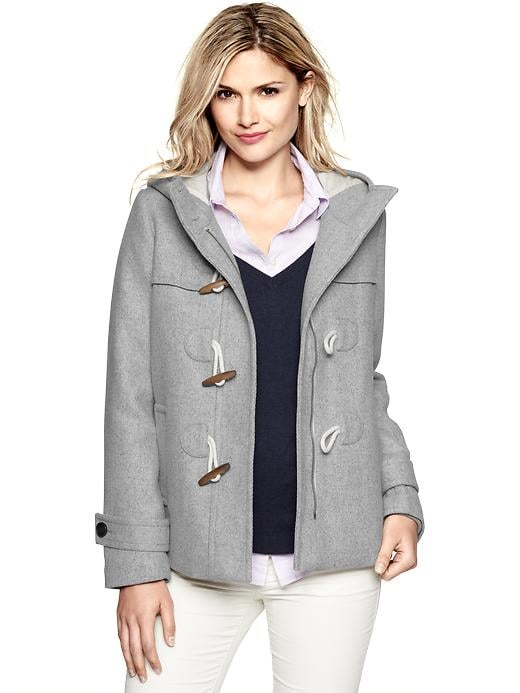 This twill-lined Gap Wool Duffle Coat ($148) hits right at the hip — ideal for wearing with jeans.