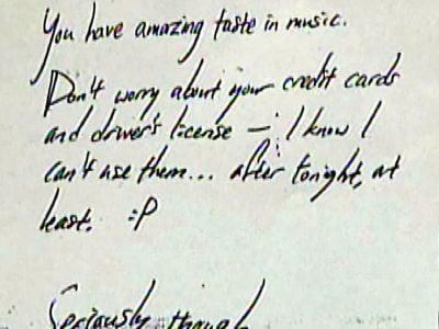 Burn! Car Burglar Leaves Note Praising Music Tastes