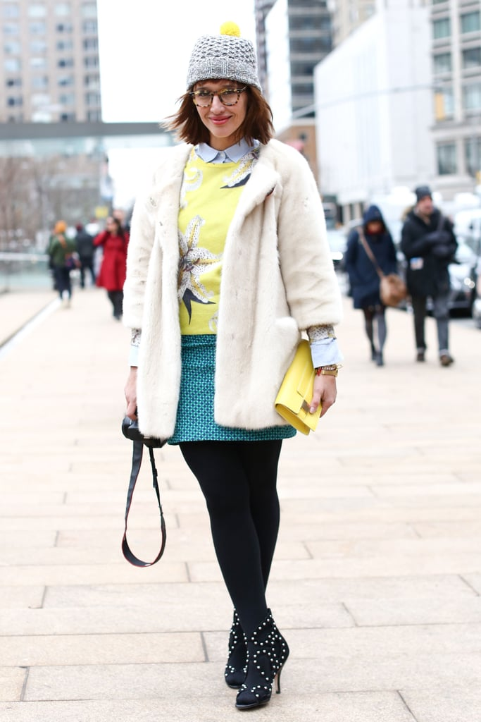 This showgoer homed in on mixed prints and statement shoes.
