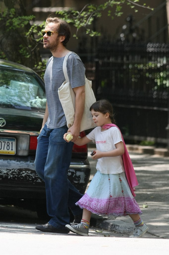 In March 2012, Peter Sarsgaard walked with daughter Ramona in NYC.