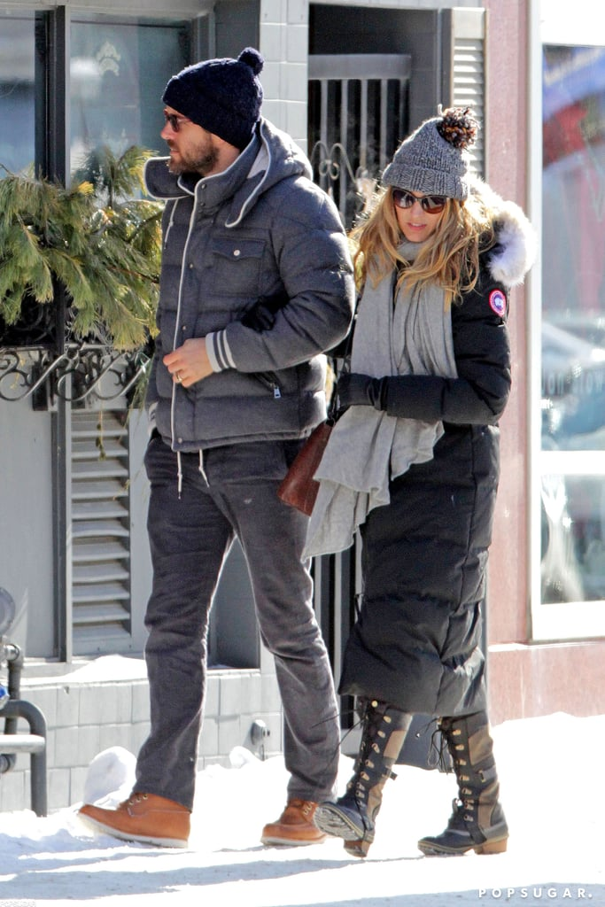 Blake Lively wore a warm parka and snow boots.