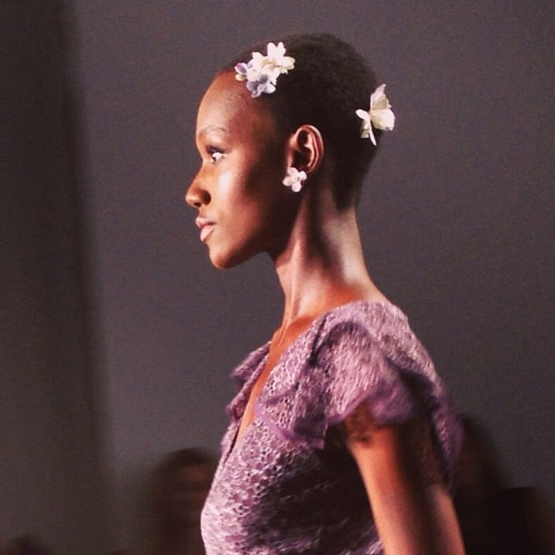 Zac Posen didn't leave short-haired model Herieth Paul out. She wore flowers in her hair just like the other catwalkers.