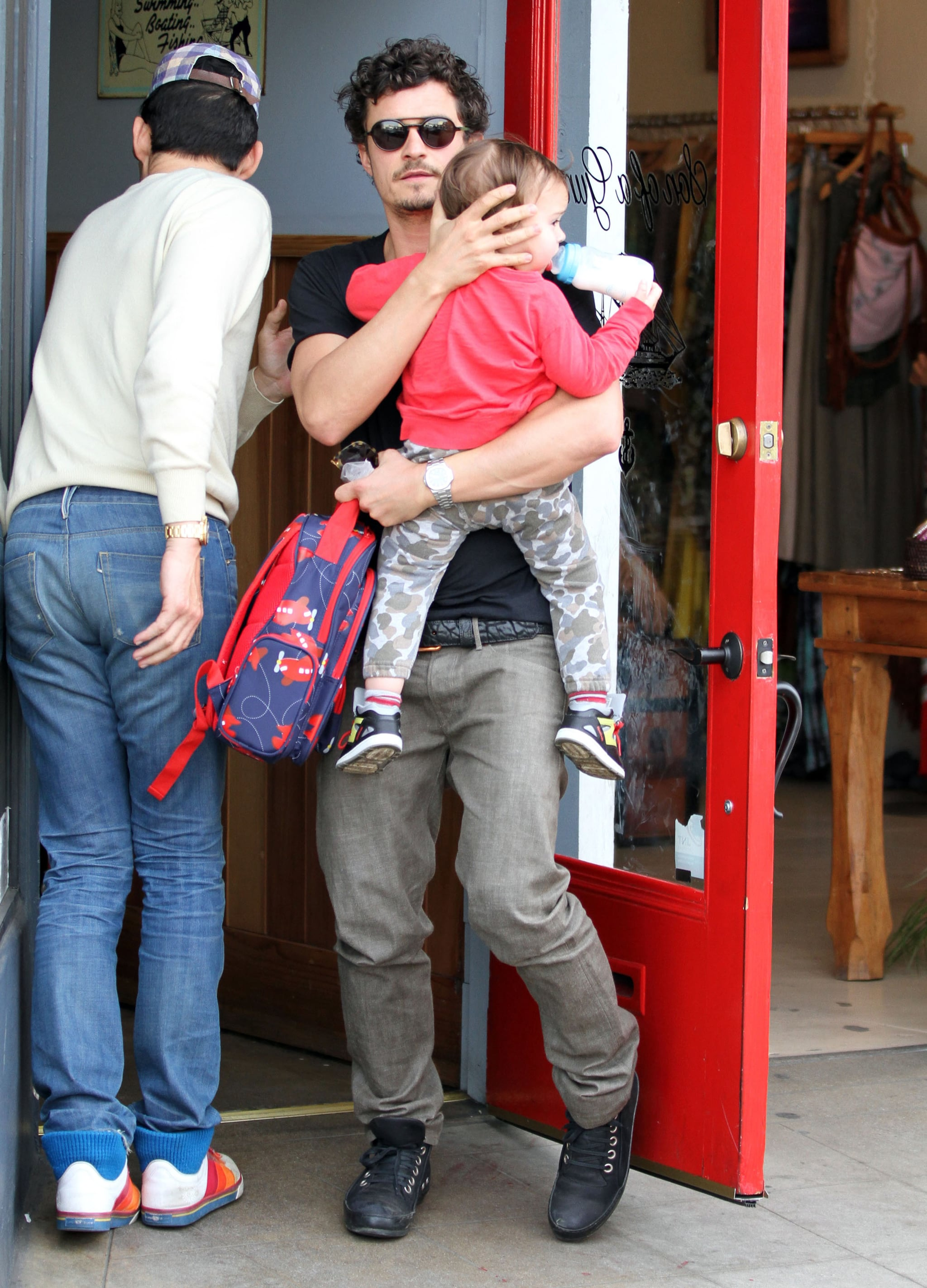 Orlando Bloom had a lunch date with his son Flynn in LA.