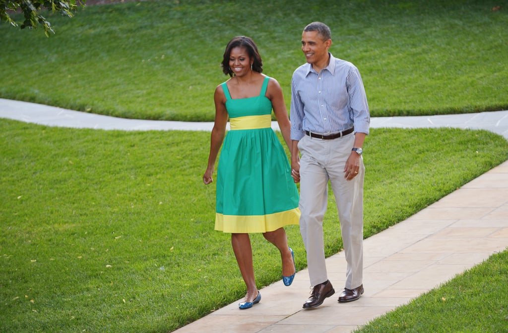 The Obamas walked hand in hand in Washington DC.