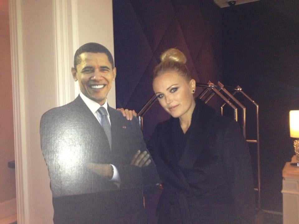 Malin Akerman posed with a Barack Obama cutout during the inauguration festivities on Monday. Source: Twitter user MalinAkerman