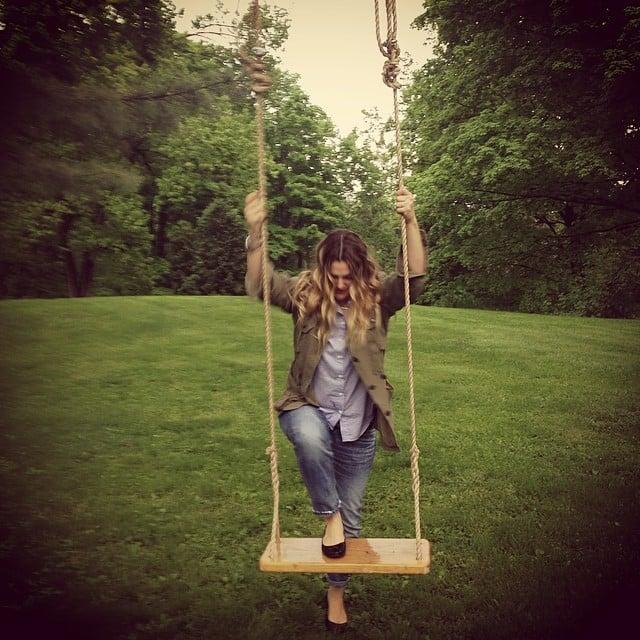 Drew Barrymore got into the swing of things. Source: Instagram user drewbarrymore