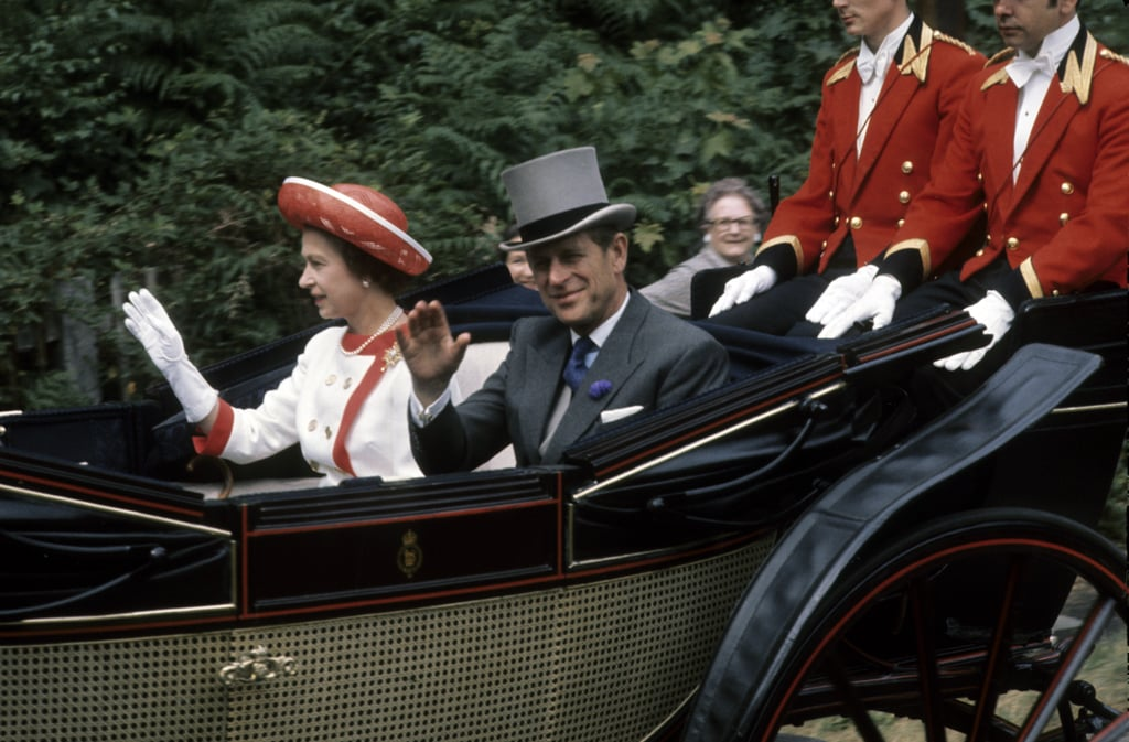 Queen Elizabeth II and Prince Philip arrived at Royal Ascot in an open carriage during the Summer of 1976.