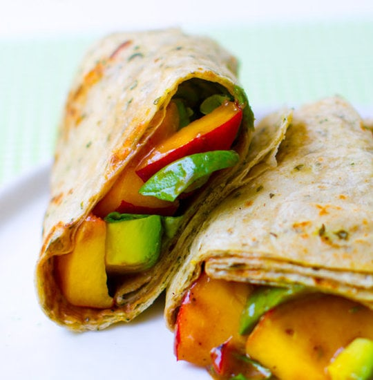 Peach, Avocado, and Basil Wraps