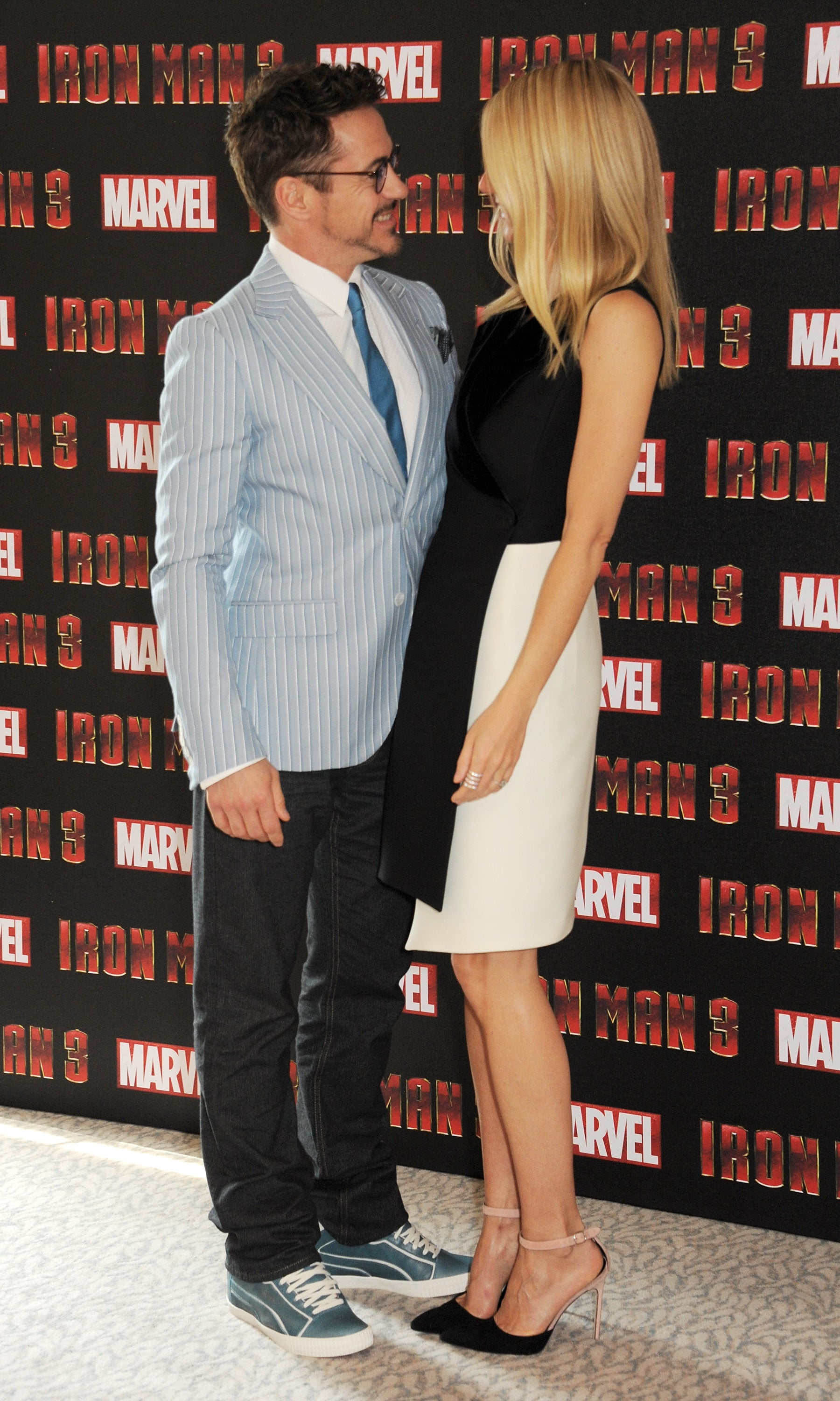 Gwyneth Paltrow and Robert Downey Jr. posed together for an Iron Man 3 photocall in the UK.
