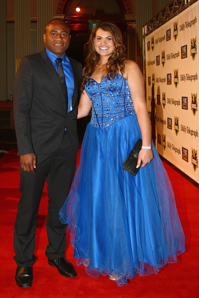 Akuila Uate and Samantha Maton posed on the red carpet at the 2012 Dally M Awards in Sydney.