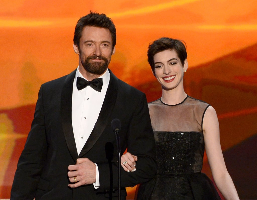 Hugh Jackman and Anne Hathaway stuck together on stage at the SAG Awards.