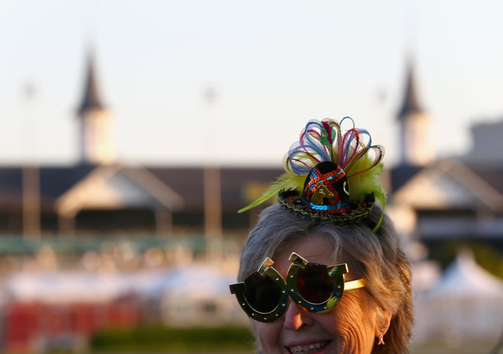 A woman wore a teeny, tiny hat for morning training in 2014.