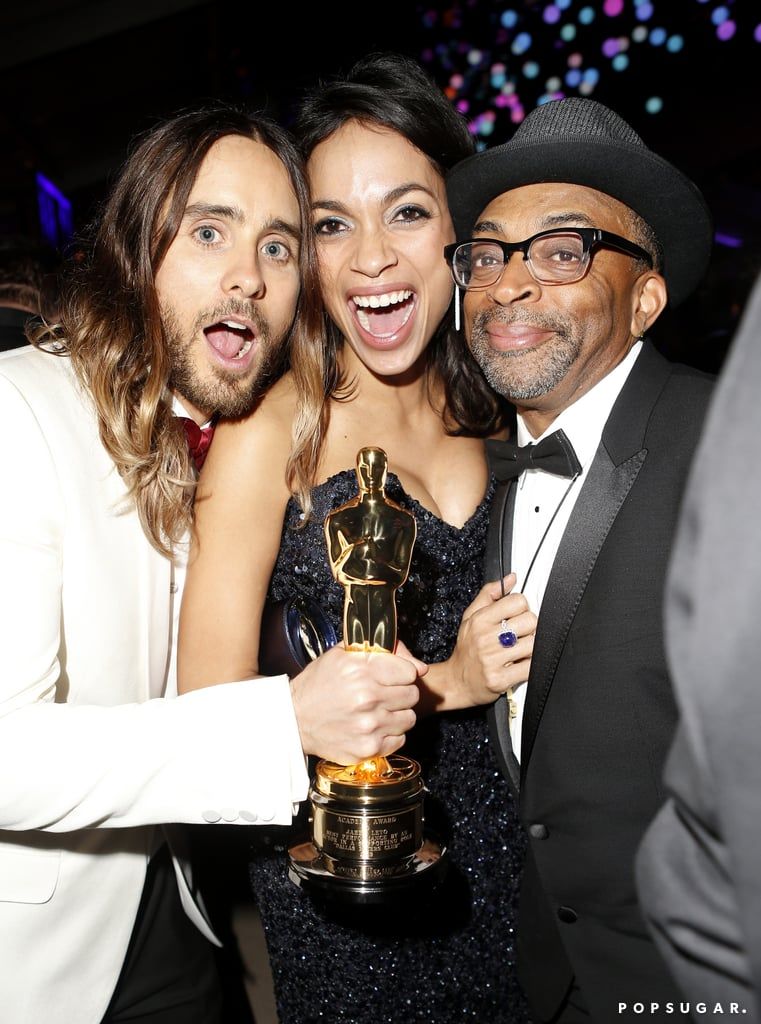 Jared Leto included his best supporting actor Oscar in an excited snap with Rosario Dawson and Spike Lee.