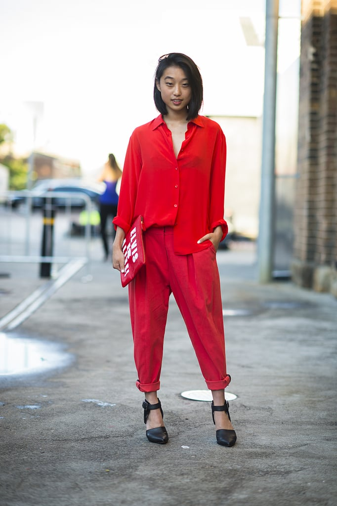 Bold red hues made this blouse and trousers pop. Source: Le 21ème | Adam Katz Sinding