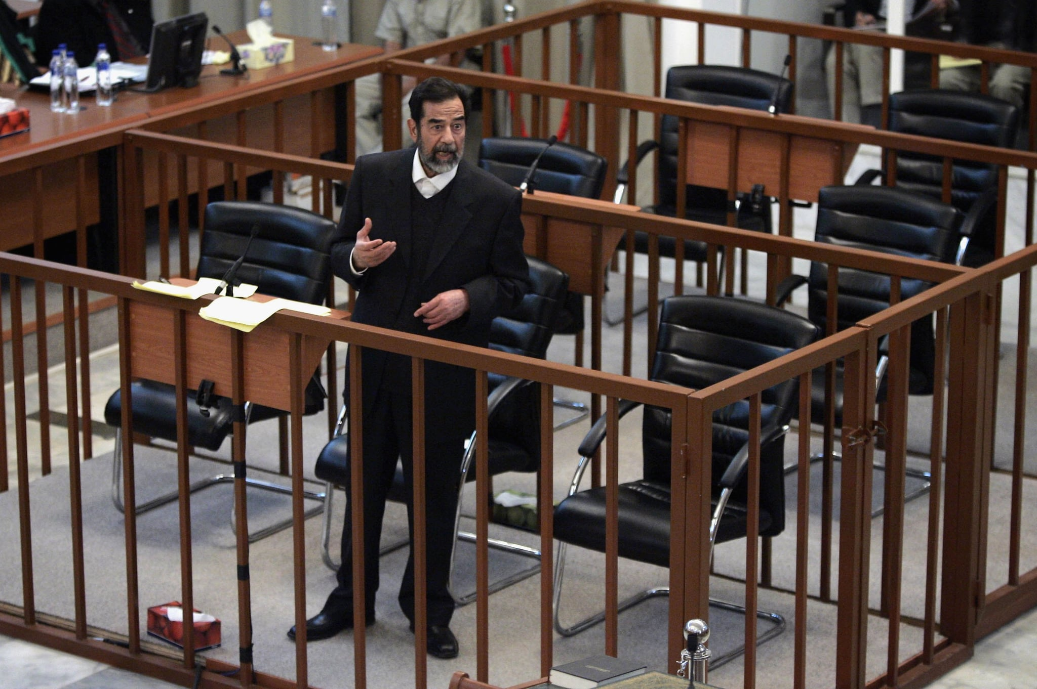Saddam Hussein argues with prosecutors while testifying during  his trial on April 5, 2006.