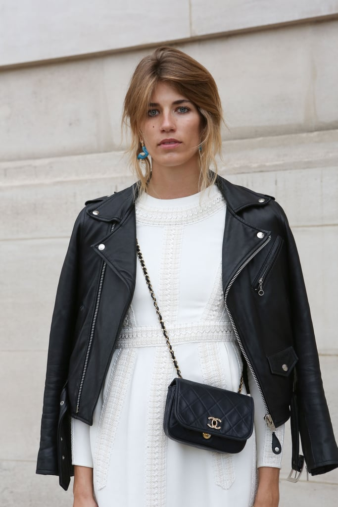 A crossbody Chanel bag gave this LWD and leather a sweet finish.
