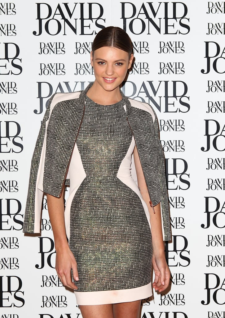 Montana looked super-chic in this spliced grey tweed shift and jacket combo.