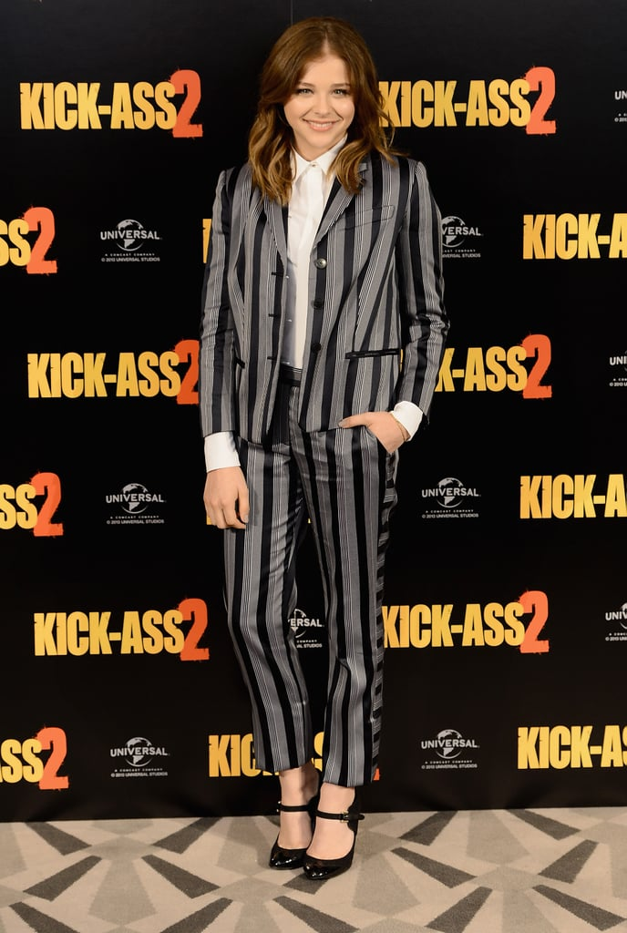 At a Kick-Ass 2 press event, Chloë Moretz stood out in Viktor & Rolf's stripes.