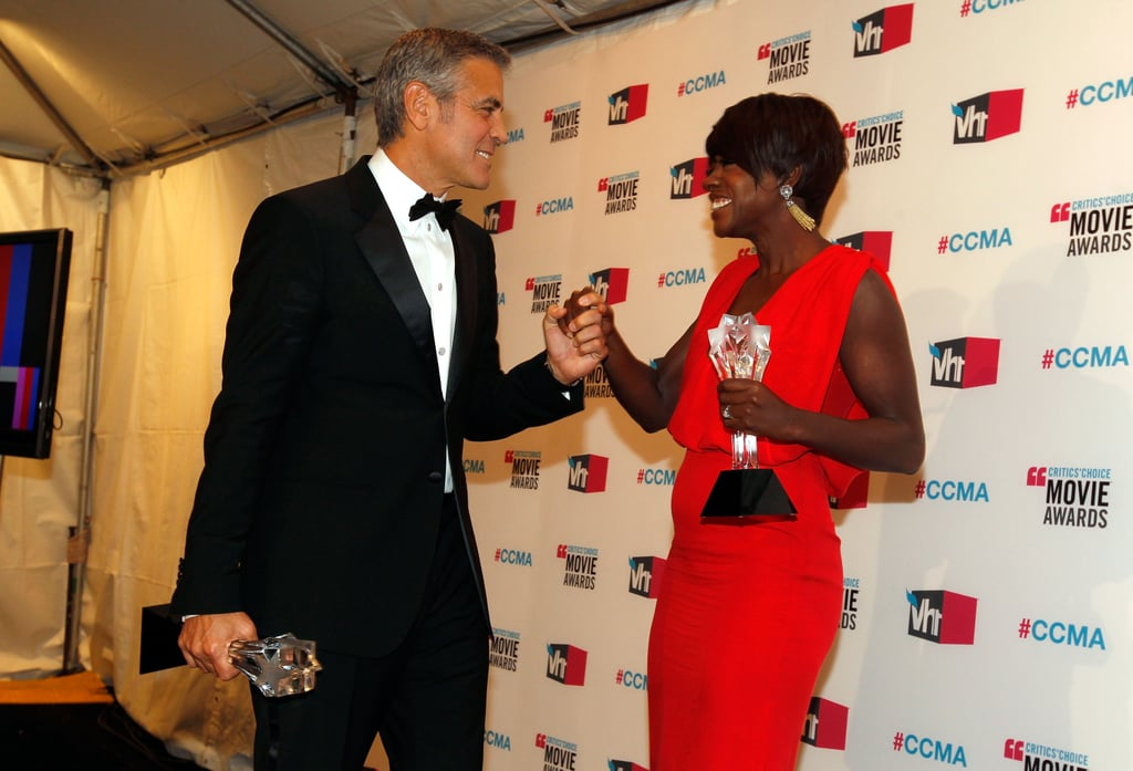 George Clooney caught up with his friend Viola Davis in 2012.