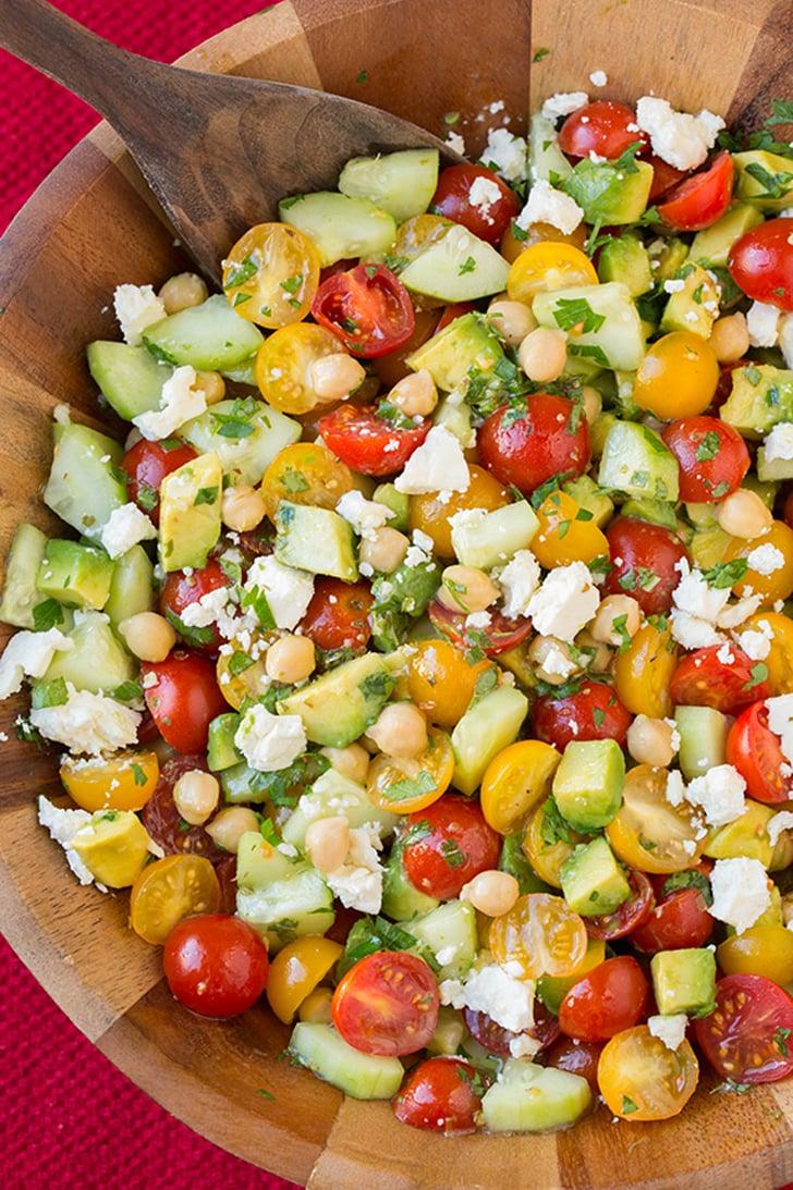 Tomato, Avocado, Cucumber, and Chickpea Salad