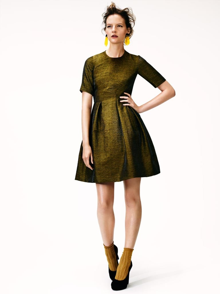 Give your party dress, like this perfect metallic fit-and-flare, a daytime twist with socks and pumps. For the less fashion-forward crowd, dial down the glam with opaque tights and lace-up ankle boots.