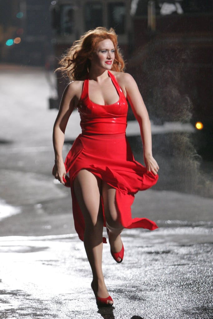 Kate Winslet was sexy in a fiery red dress and heels while filming Romance and Cigarettes in Brooklyn in 2004.