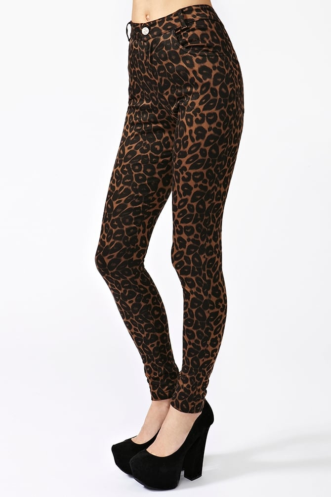 Nasty Gal's Jordan Leopard Jeans ($80) have the perfect model off-duty appeal — pair them with a slouchy white or black tee.
