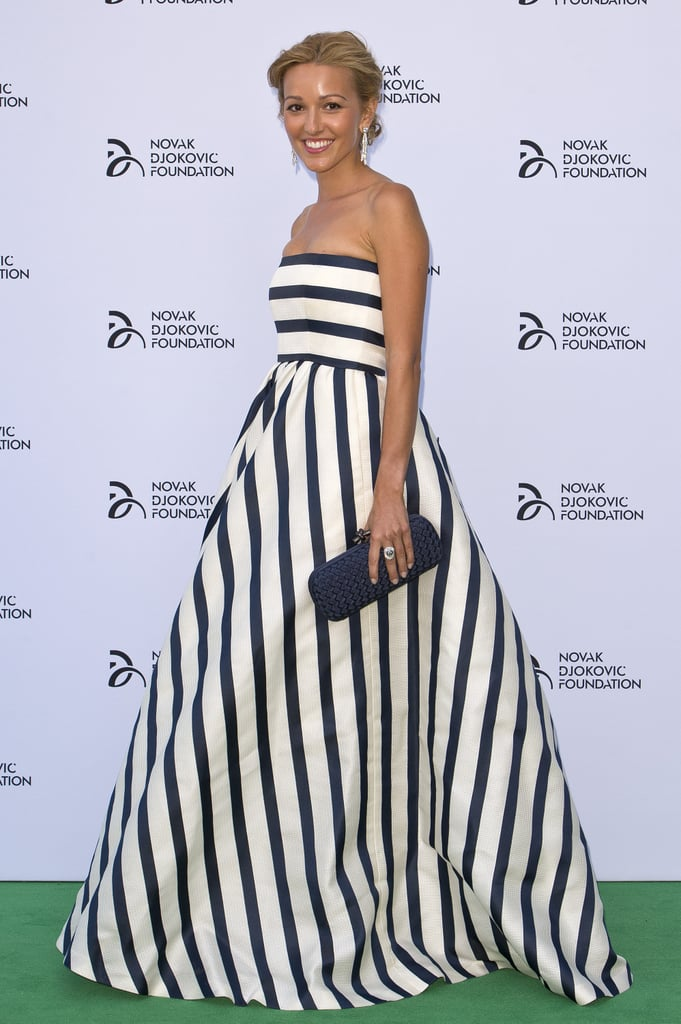 A striped Jelena Ristic joined Novak Djokovic at the tennis player's gala dinner.