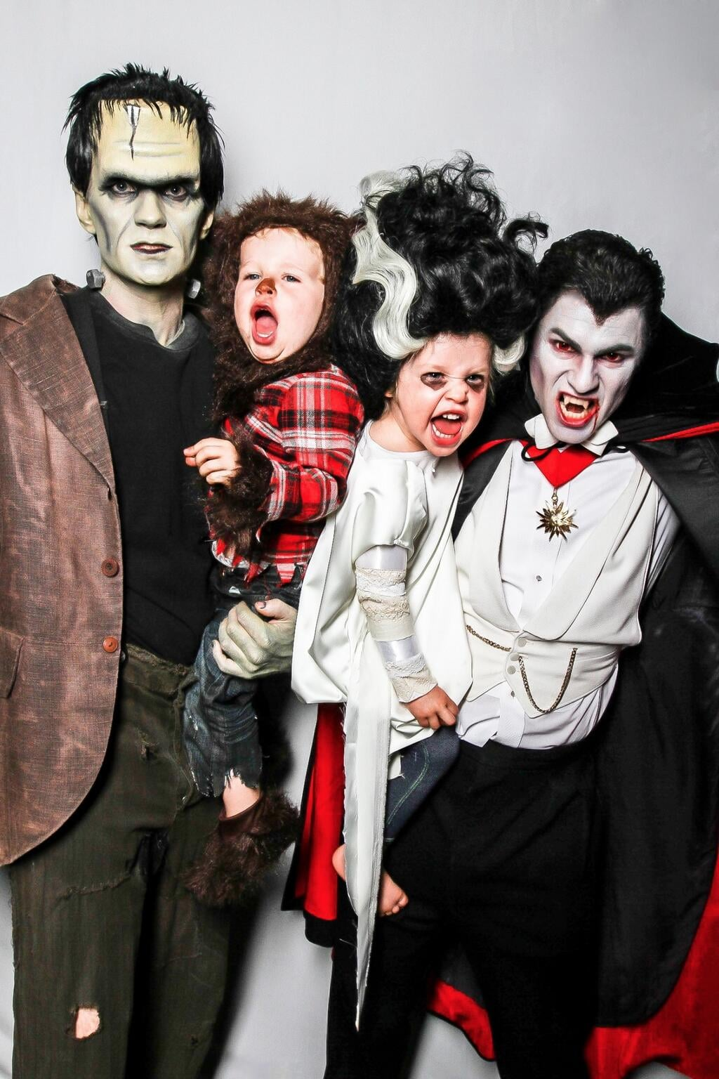 Neil Patrick Harris and his husband David Burtka dressed as Frankenstein and Dracula while their twins, Gideon and Harper, went as a werewolf and Wife of Frankenstein. Source: Twitter user ActuallyNPH