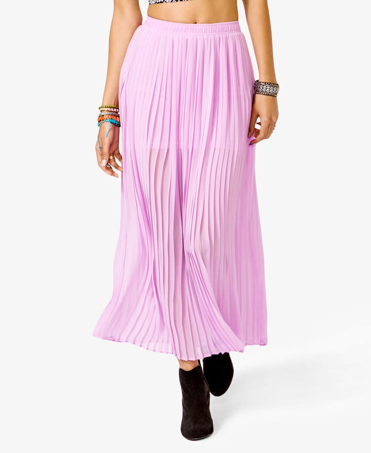 We'd wear this Forever 21 Chiffon Maxi Skirt ($25) with a slouchy gray tee and studded sneakers.