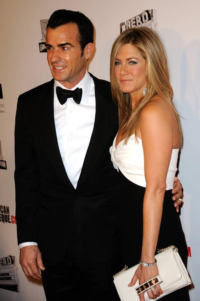 Justin Theroux posed with fiance Jennifer Aniston at the American Cinematheque Awards.