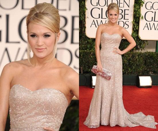 Carrie Underwood in sparkly Badgley Mischka at 2011 Golden Globe Awards