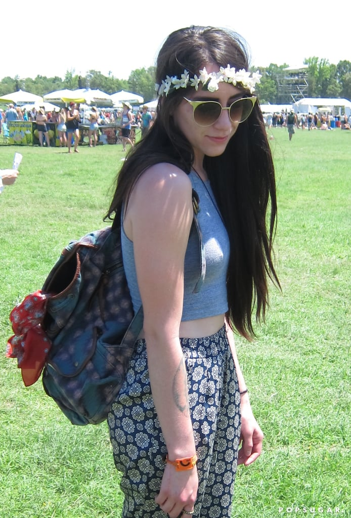 Long, straight hair plus a floral wreath equals a classic festival look.  Photo: Marisa Tom