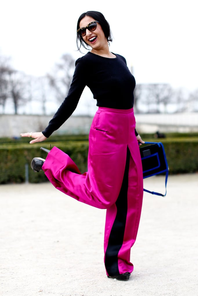 Now this is a bright look, thanks not just to high-wattage trousers, but the attitude to match.