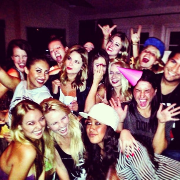 """Selena Gomez shared a photo of her friends partying while she recorded a video for her song """"Birthday"""" on her new album. Source: Instagram user selenagomez"""