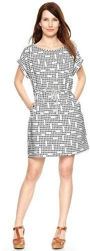 Dot print linen T-shirt dress