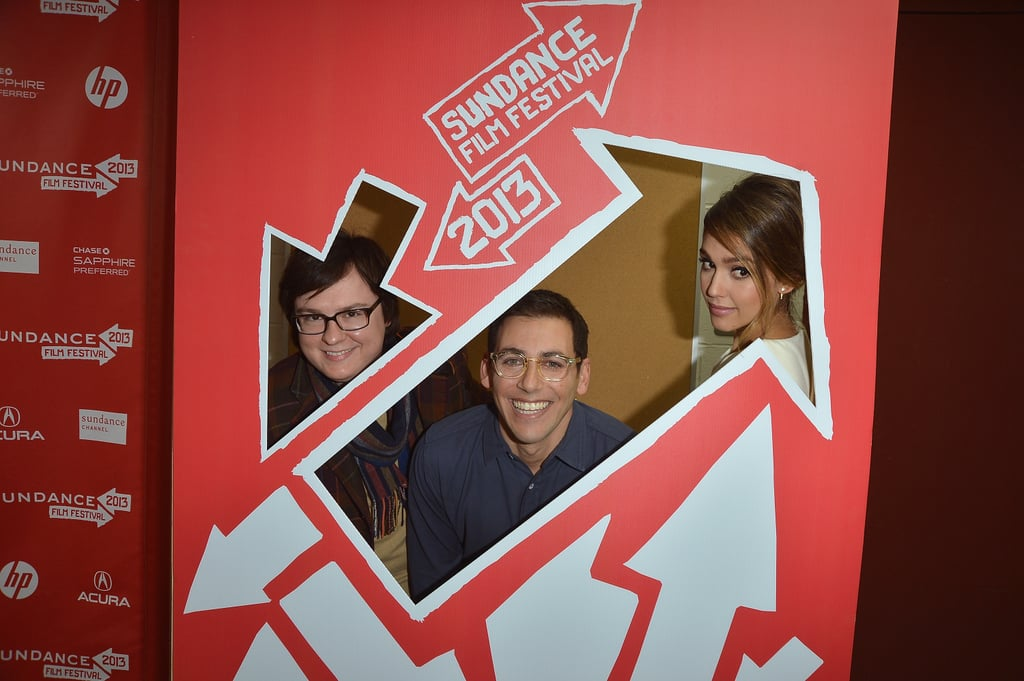 Jessica Alba got silly while posing for a pic with Stu Zicherman and Clark Duke.