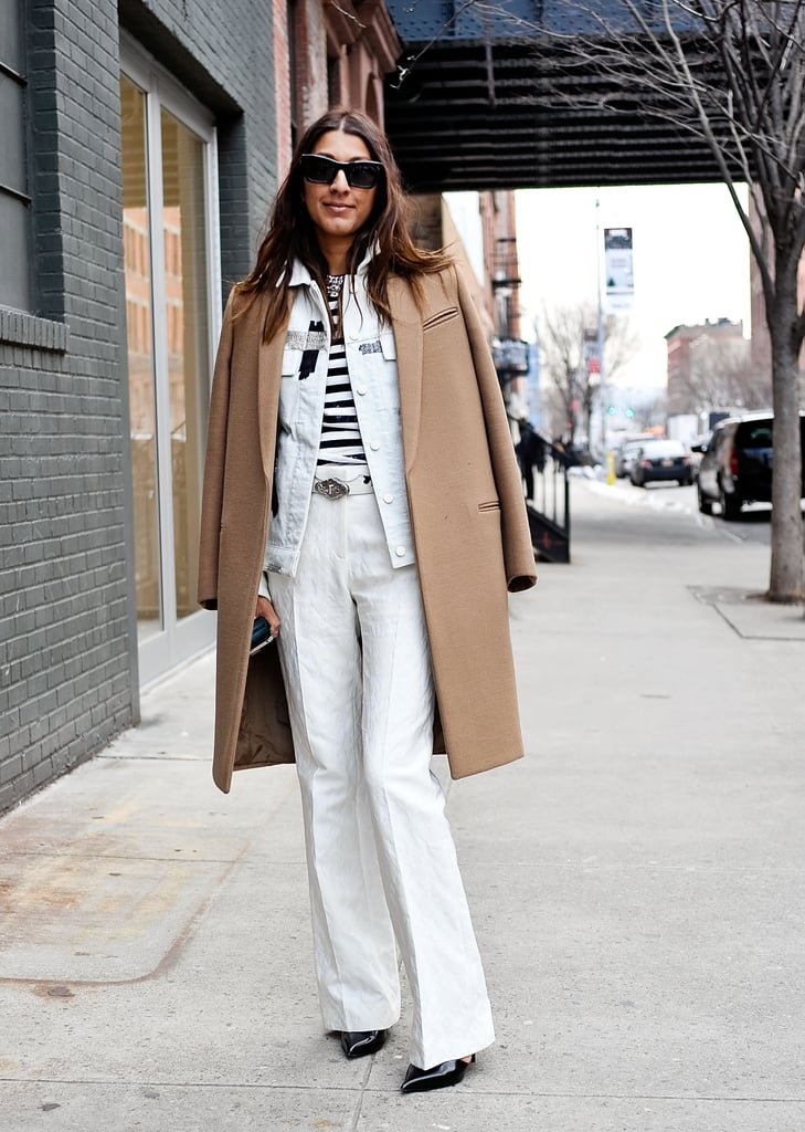 A camel coat gave polish to an otherwise laid-back ensemble.