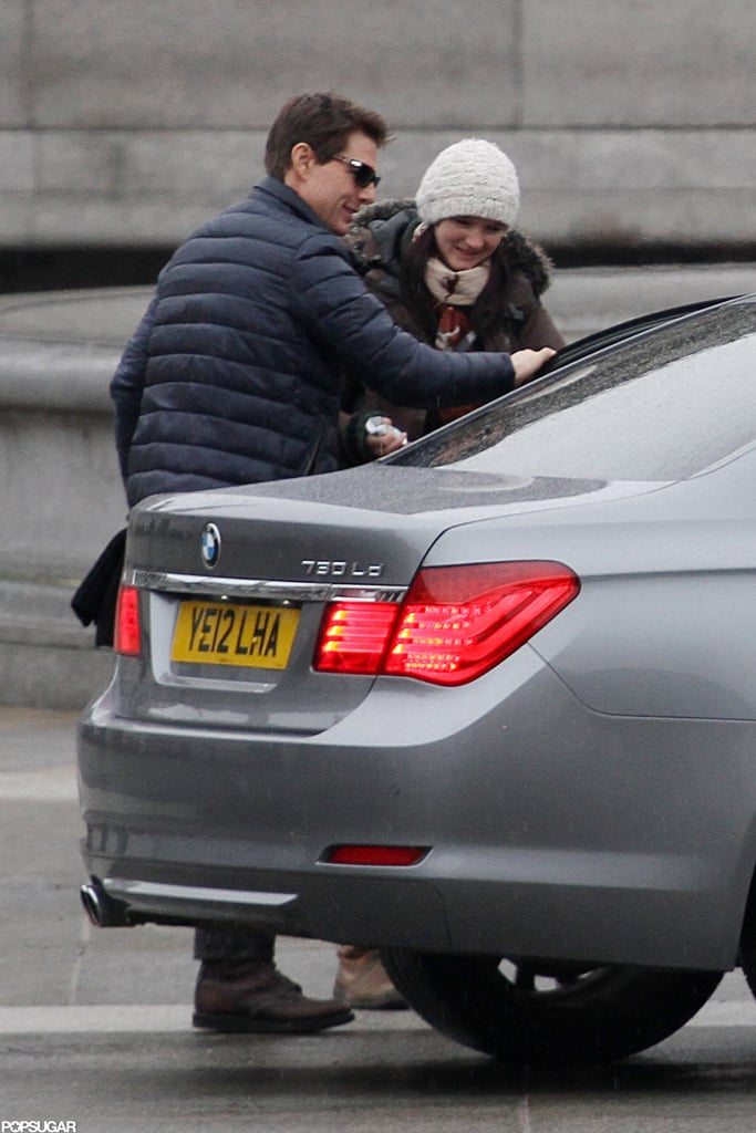 Tom Cruise arrived on set in London.
