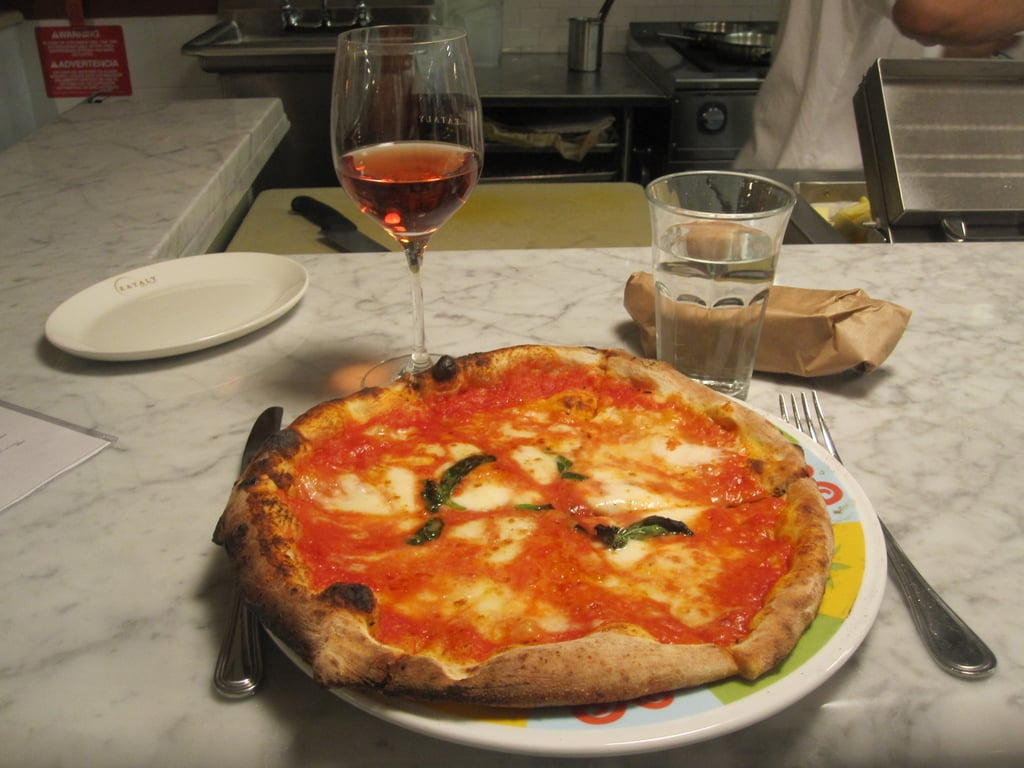 Before the festivities began on Thursday night, I had a free hour, so I headed over to Mario Batali's new Italian emporium, Eataly, where I enjoyed a classic margarita pie and a glass of Rosé.
