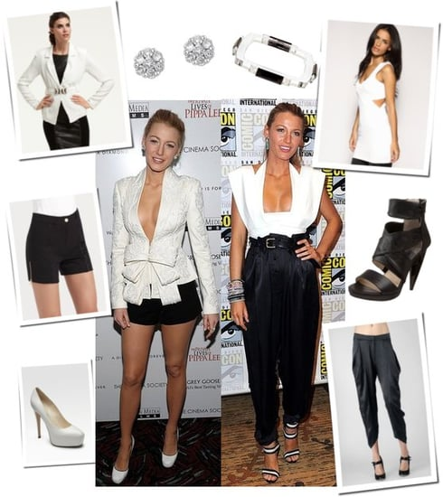 Blake Lively Wears Black and White