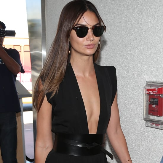 Lily Aldridge Black Maxi Dress Airport Style