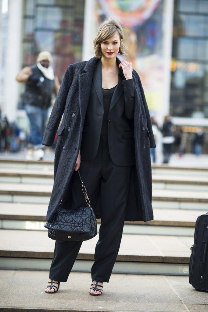 Karlie Kloss looks chic as always in all black.  Source: Le 21ème   Adam Katz Sinding