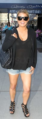 Jessica Simpson Wears Jean Shorts and Cynthia Vincent Shoes