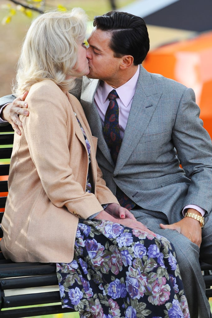 Leonardo DiCaprio leaned in for a kiss with co-star Joanna Lumley on November 20, as they filmed their movie The Wolf of Wall Street on the streets of Brooklyn.